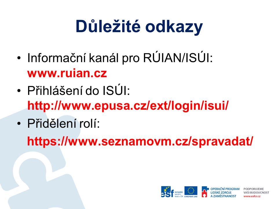 Důležité odkazy Informační kanál pro RÚIAN/ISÚI: www.ruian.cz Přihlášení do ISÚI: http://www.epusa.cz/ext/login/isui/ Přidělení rolí: https://www.seznamovm.cz/spravadat/