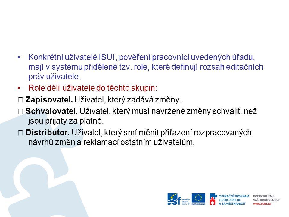 Konkrétní uživatelé ISUI, pověření pracovníci uvedených úřadů, mají v systému přidělené tzv.