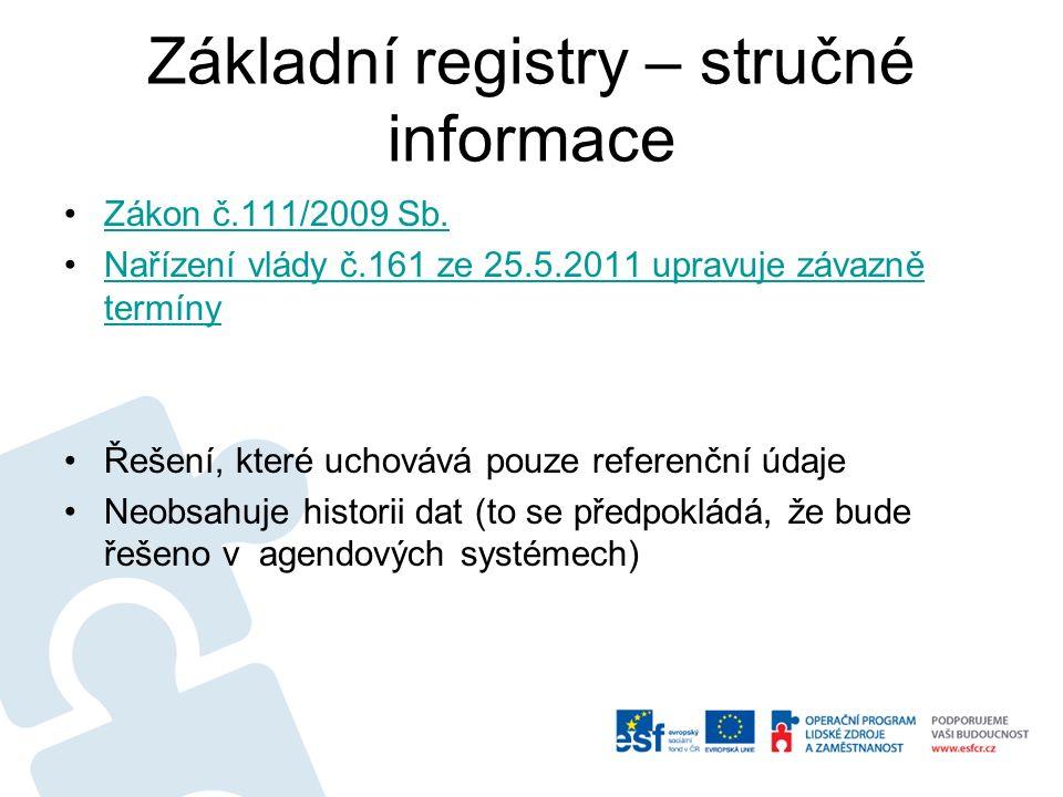 Soustava základních registrů ČR Zákon č.