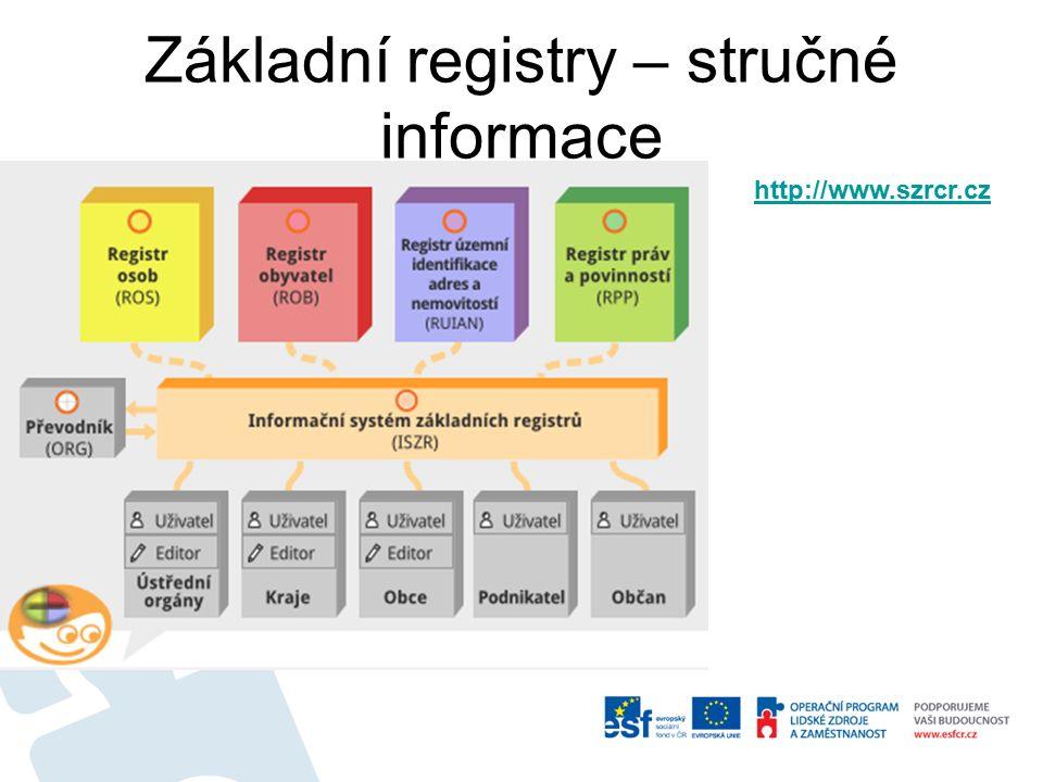 Základní registry – stručné informace http://www.szrcr.cz