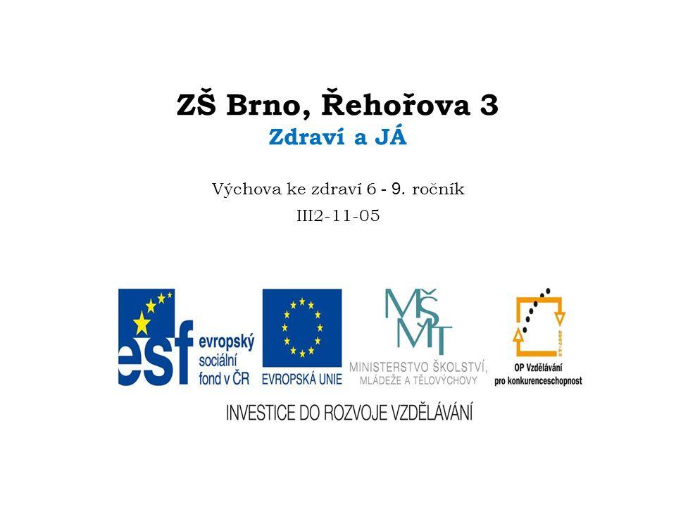 ¨ ZŠ Brno, Řehořova 3 Zdraví a JÁ Výchova ke zdraví 6 - 9. ročník III2-11-05