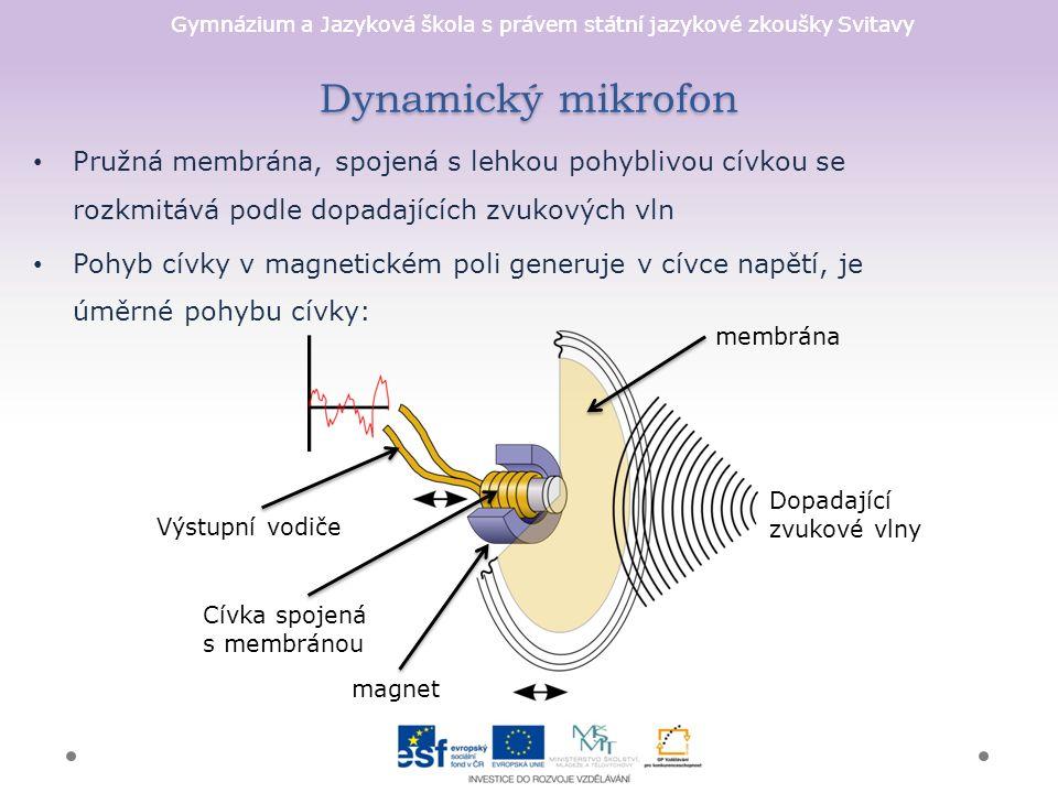 Gymnázium a Jazyková škola s právem státní jazykové zkoušky Svitavy Dynamický mikrofon Pružná membrána, spojená s lehkou pohyblivou cívkou se rozkmitává podle dopadajících zvukových vln Pohyb cívky v magnetickém poli generuje v cívce napětí, je úměrné pohybu cívky: membrána Dopadající zvukové vlny magnet Cívka spojená s membránou Výstupní vodiče