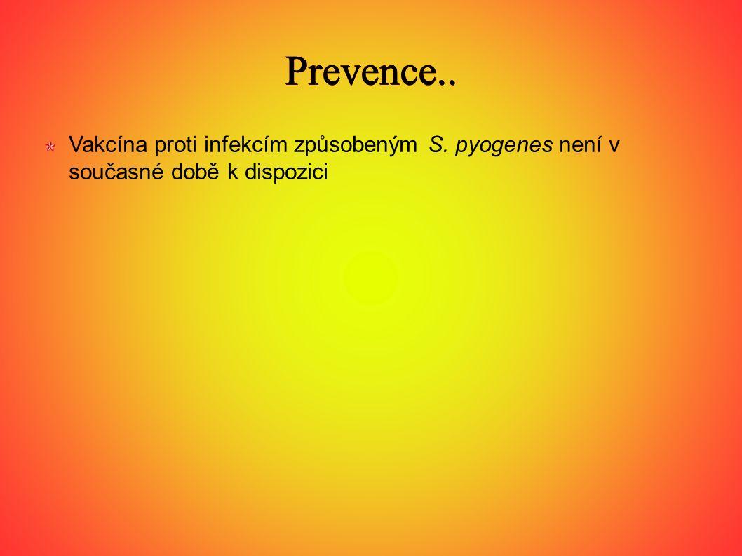 Prevence.. Vakcína proti infekcím způsobeným S. pyogenes není v současné době k dispozici