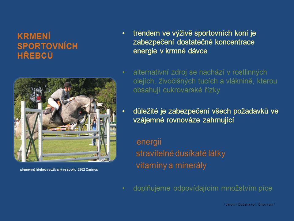 KRMENÍ SPORTOVNÍCH HŘEBCŮ trendem ve výživě sportovních koní je zabezpečení dostatečné koncentrace energie v krmné dávce alternativní zdroj se nachází v rostlinných olejích, živočišných tucích a vláknině, kterou obsahují cukrovarské řízky důležité je zabezpečení všech požadavků ve vzájemné rovnováze zahrnující energii stravitelné dusíkaté látky vitamíny a minerály doplňujeme odpovídajícím množstvím píce / Jaromír Dušek a kol.: Chov koní / plemenný hřebec využívaný ve sportu 2982 Carinus