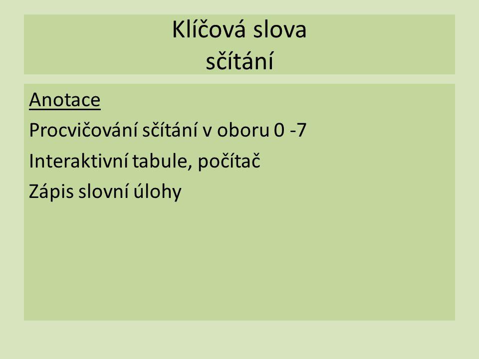 Klíčová slova sčítání Anotace Procvičování sčítání v oboru 0 -7 Interaktivní tabule, počítač Zápis slovní úlohy