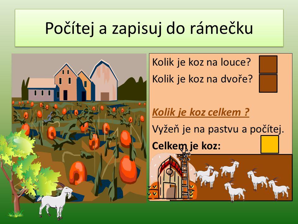Slovní úloha – doplň číslo a sestav příklad.Ve stáji je koní.