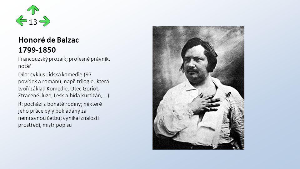 Honoré de Balzac 1799-1850 Francouzský prozaik; profesně právník, notář Dílo: cyklus Lidská komedie (97 povídek a románů, např. trilogie, která tvoří