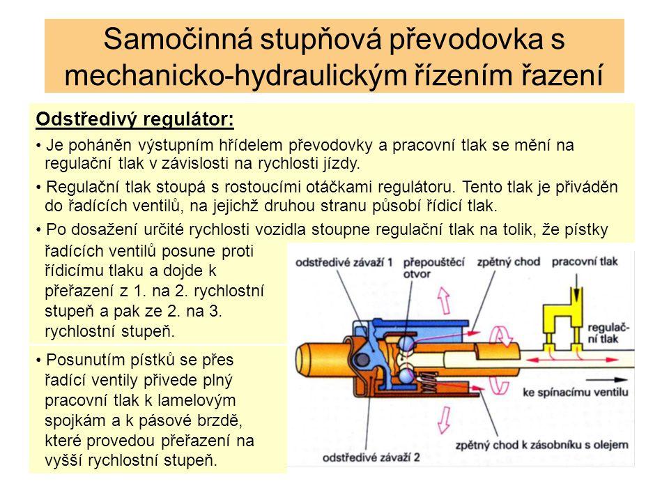 Odstředivý regulátor: Je poháněn výstupním hřídelem převodovky a pracovní tlak se mění na regulační tlak v závislosti na rychlosti jízdy. Regulační tl