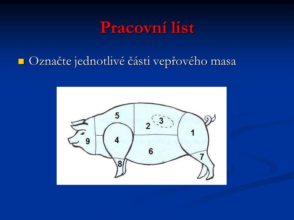 Pracovní list Označte jednotlivé části vepřového masa Označte jednotlivé části vepřového masa
