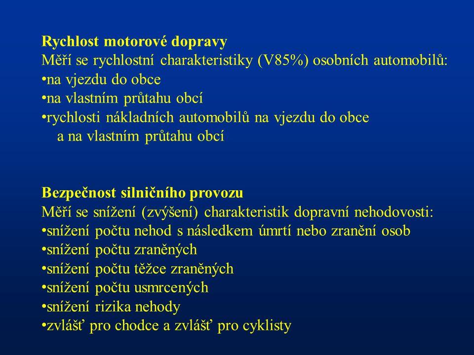 Rychlost motorové dopravy Měří se rychlostní charakteristiky (V85%) osobních automobilů: na vjezdu do obce na vlastním průtahu obcí rychlosti nákladních automobilů na vjezdu do obce a na vlastním průtahu obcí Bezpečnost silničního provozu Měří se snížení (zvýšení) charakteristik dopravní nehodovosti: snížení počtu nehod s následkem úmrtí nebo zranění osob snížení počtu zraněných snížení počtu těžce zraněných snížení počtu usmrcených snížení rizika nehody zvlášť pro chodce a zvlášť pro cyklisty