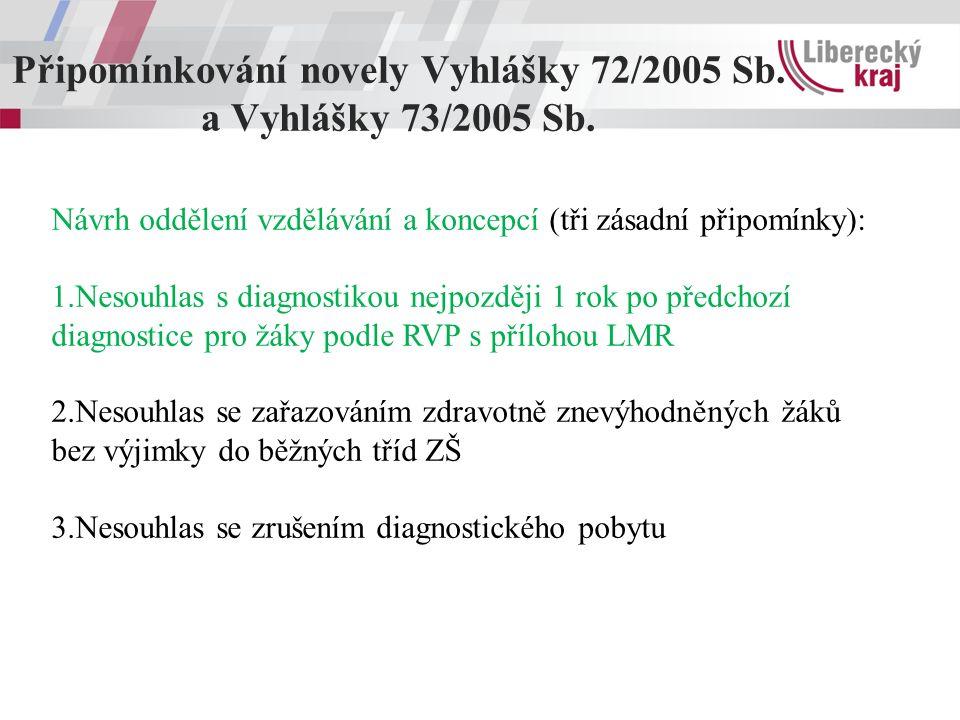 Připomínkování novely Vyhlášky 72/2005 Sb. a Vyhlášky 73/2005 Sb. Návrh oddělení vzdělávání a koncepcí (tři zásadní připomínky): 1.Nesouhlas s diagnos