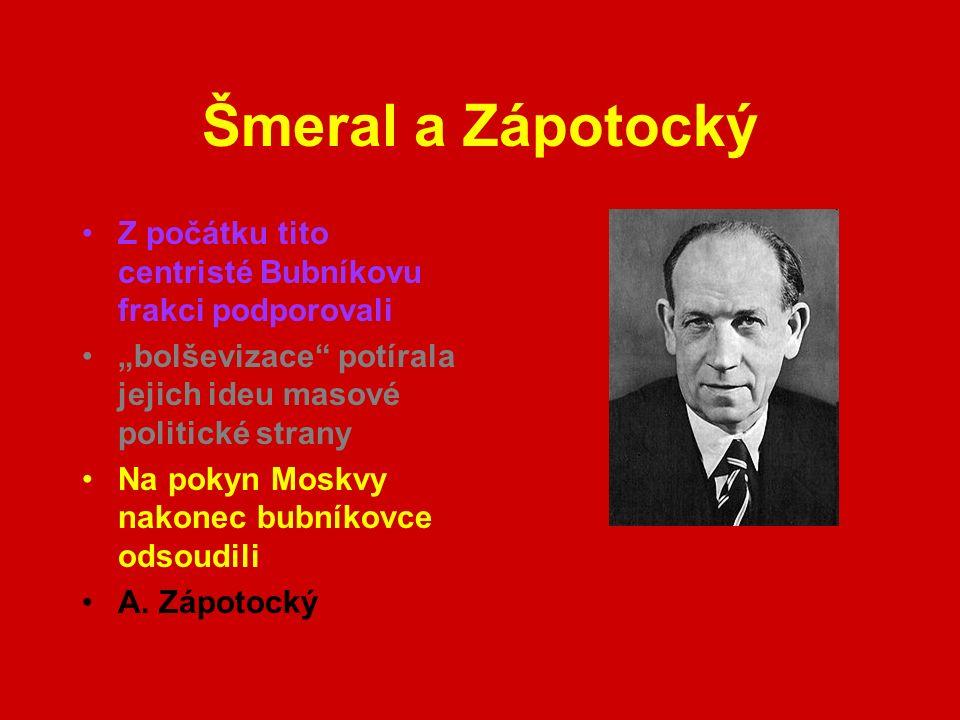 """Šmeral a Zápotocký Z počátku tito centristé Bubníkovu frakci podporovali """"bolševizace potírala jejich ideu masové politické strany Na pokyn Moskvy nakonec bubníkovce odsoudili A."""