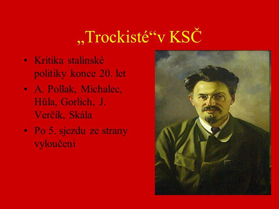 """""""Trockisté v KSČ Kritika stalinské politiky konce 20."""