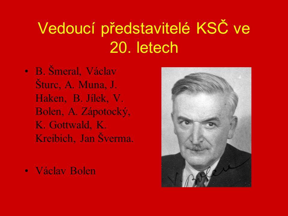 Vedoucí představitelé KSČ ve 20. letech B. Šmeral, Václav Šturc, A.