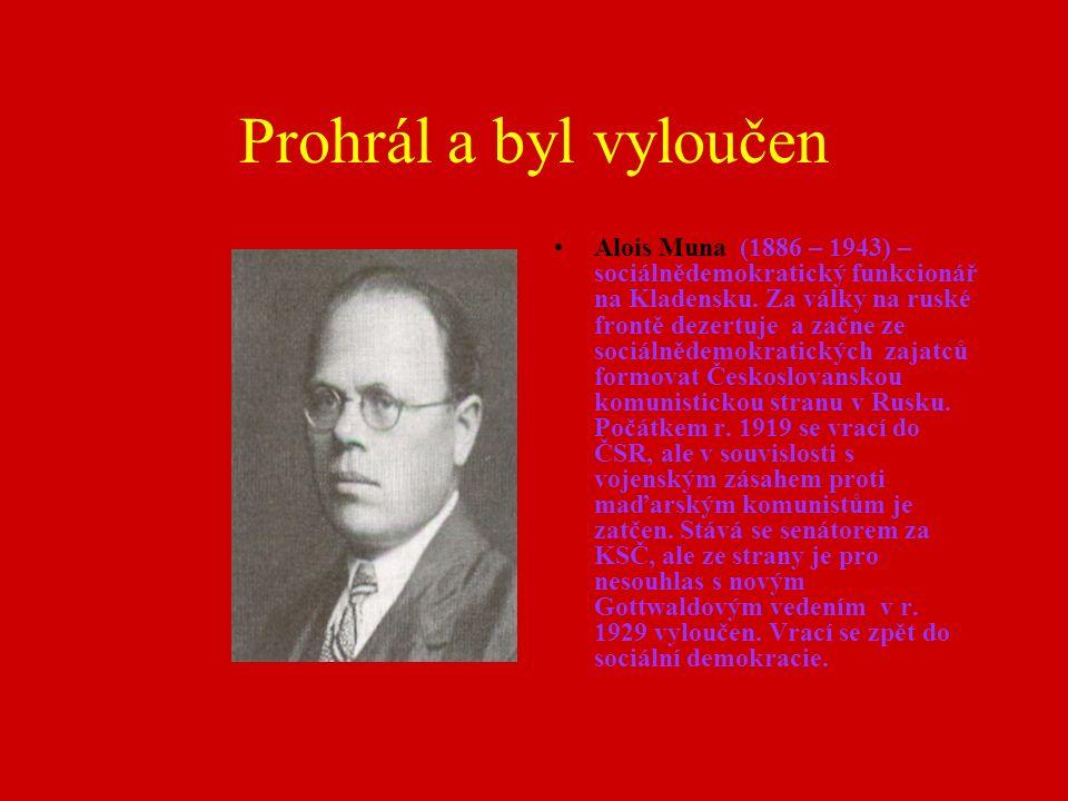 Prohrál a byl vyloučen Alois Muna (1886 – 1943) – sociálnědemokratický funkcionář na Kladensku. Za války na ruské frontě dezertuje a začne ze sociálně