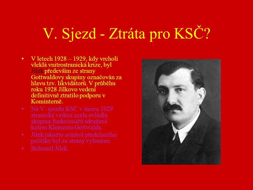 V. Sjezd - Ztráta pro KSČ.