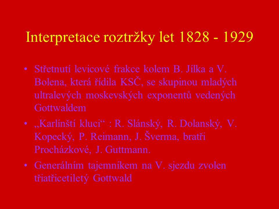 Interpretace roztržky let 1828 - 1929 Střetnutí levicové frakce kolem B.