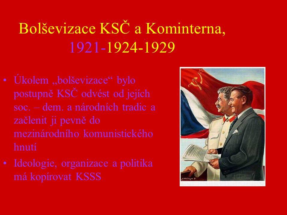 """Bolševizace KSČ a Kominterna, 1921-1924-1929 Úkolem """"bolševizace bylo postupně KSČ odvést od jejích soc."""