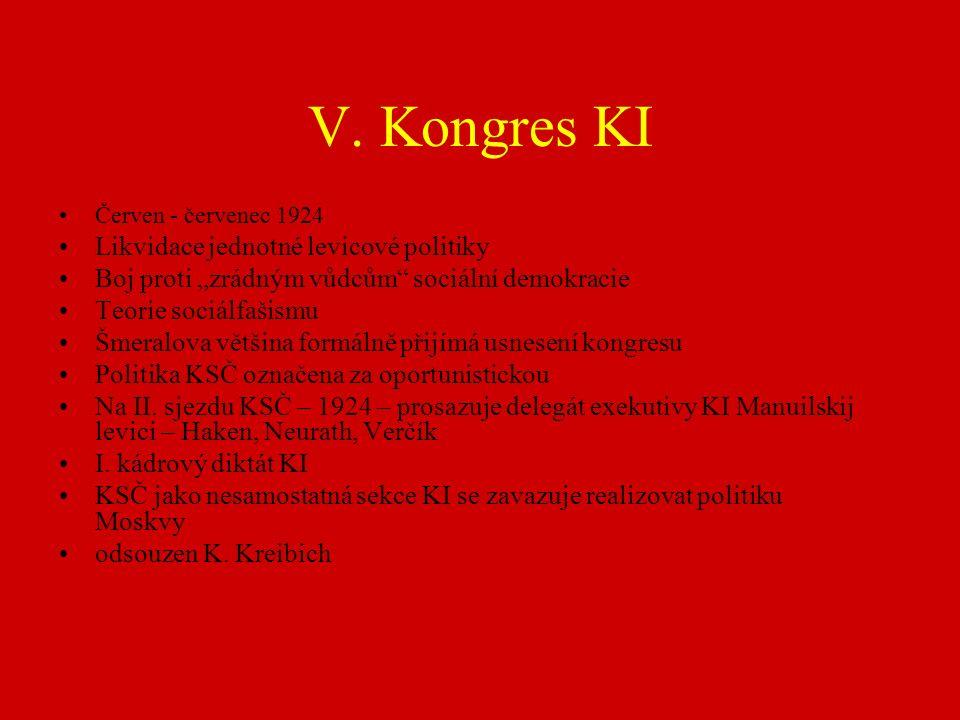 """V. Kongres KI Červen - červenec 1924 Likvidace jednotné levicové politiky Boj proti """"zrádným vůdcům"""" sociální demokracie Teorie sociálfašismu Šmeralov"""