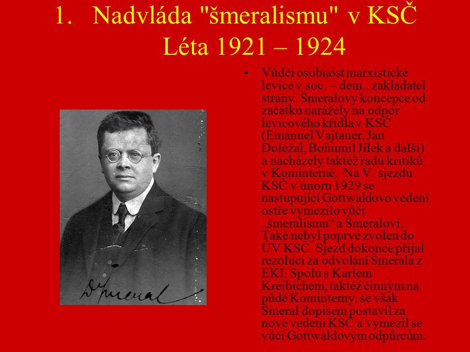 1.Nadvláda šmeralismu v KSČ Léta 1921 – 1924 Vůdčí osobnost marxistické levice v soc.