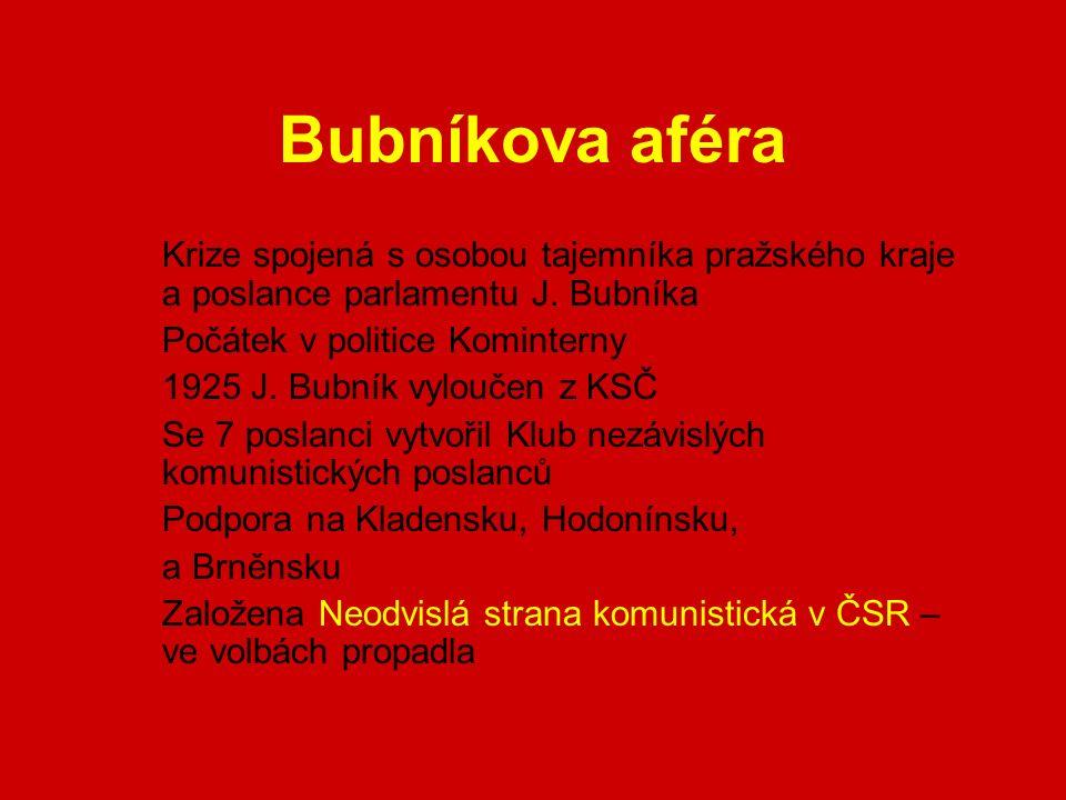 Bubníkova aféra Krize spojená s osobou tajemníka pražského kraje a poslance parlamentu J.