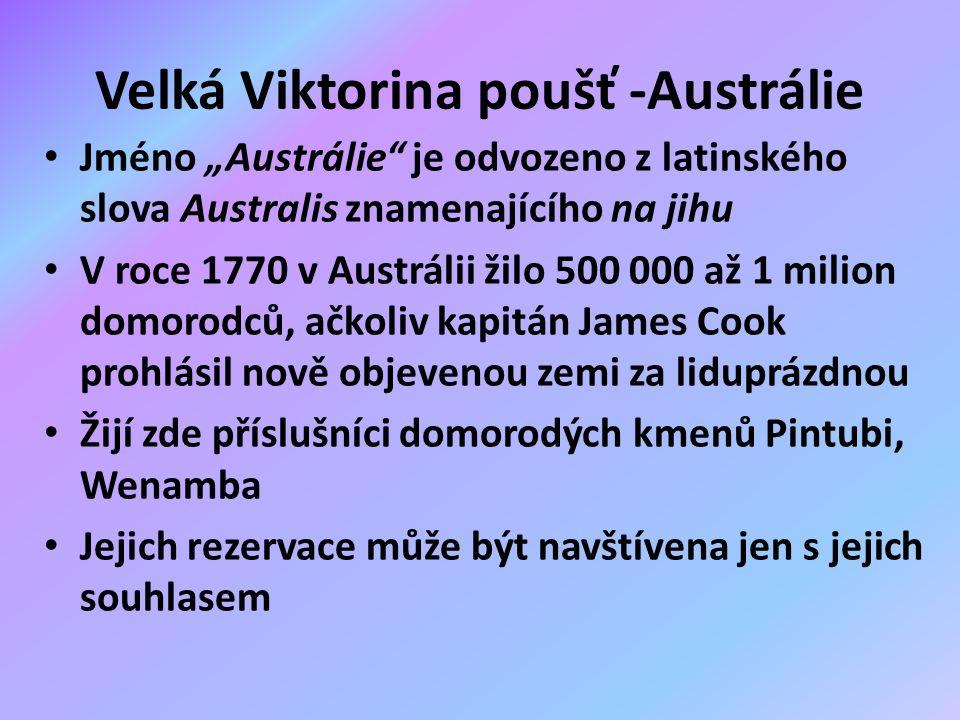 """Velká Viktorina poušť -Austrálie Jméno """"Austrálie je odvozeno z latinského slova Australis znamenajícího na jihu V roce 1770 v Austrálii žilo 500 000 až 1 milion domorodců, ačkoliv kapitán James Cook prohlásil nově objevenou zemi za liduprázdnou Žijí zde příslušníci domorodých kmenů Pintubi, Wenamba Jejich rezervace může být navštívena jen s jejich souhlasem"""