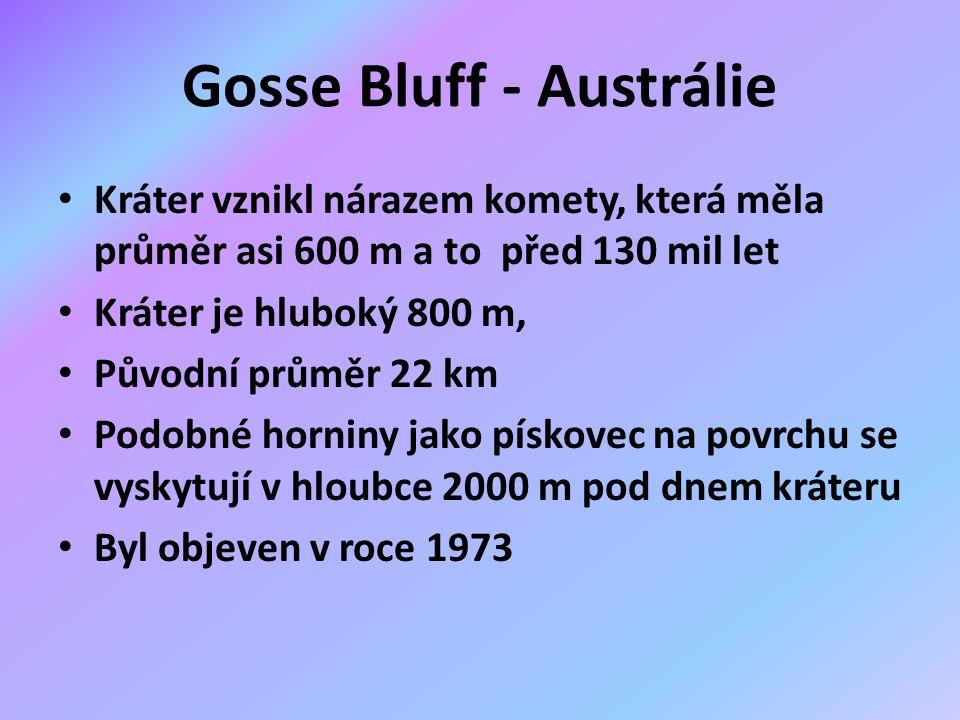 Gosse Bluff - Austrálie Kráter vznikl nárazem komety, která měla průměr asi 600 m a to před 130 mil let Kráter je hluboký 800 m, Původní průměr 22 km Podobné horniny jako pískovec na povrchu se vyskytují v hloubce 2000 m pod dnem kráteru Byl objeven v roce 1973