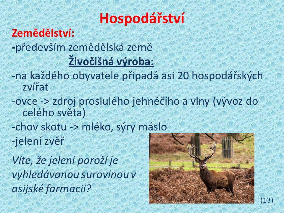 Hospodářství Zemědělství: -především zemědělská země Živočišná výroba: -na každého obyvatele připadá asi 20 hospodářských zvířat -ovce -> zdroj proslulého jehněčího a vlny (vývoz do celého světa) -chov skotu -> mléko, sýry máslo -jelení zvěř Víte, že jelení paroží je vyhledávanou surovinou v asijské farmacii.