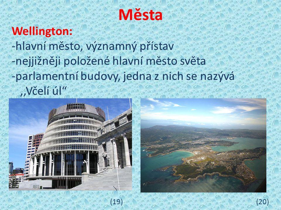 Města Wellington: -hlavní město, významný přístav -nejjižněji položené hlavní město světa -parlamentní budovy, jedna z nich se nazývá,,Včelí úl (19) (20)