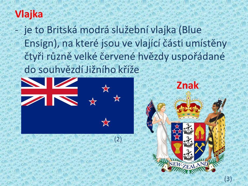 Vlajka -je to Britská modrá služební vlajka (Blue Ensign), na které jsou ve vlající části umístěny čtyři různě velké červené hvězdy uspořádané do souhvězdí Jižního kříže Znak (2) (3)