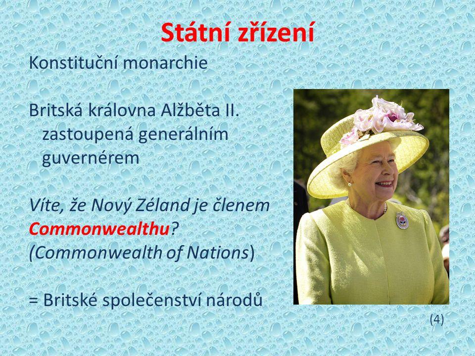 Státní zřízení Konstituční monarchie Britská královna Alžběta II.