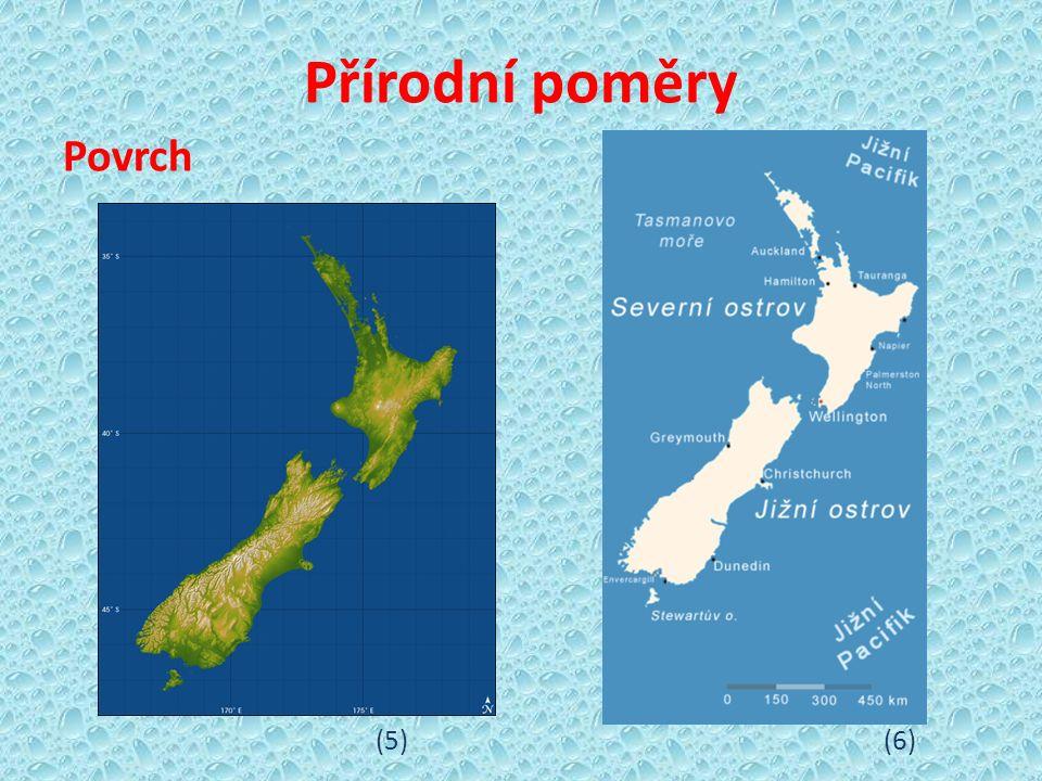 Severní ostrov Maorský název Te Ika-a-Maui (Velká ryba Mauiho) - pahorkatina - střední část ostrova -> činné sopky, gejzíry, horké (7) minerální prameny, jezera