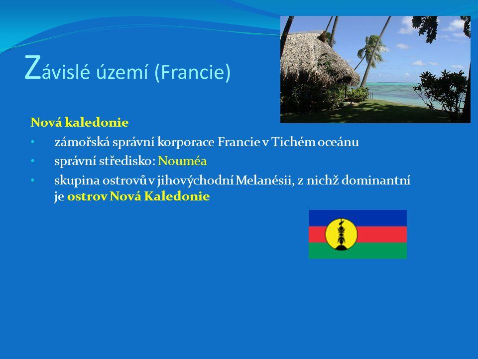 Z ávislé území (Francie) Nová kaledonie zámořská správní korporace Francie v Tichém oceánu správní středisko: Nouméa skupina ostrovů v jihovýchodní Me