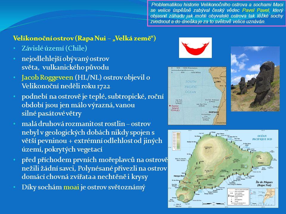"""Velikonoční ostrov (Rapa Nui – """"Velká země"""") Závislé území (Chile) nejodlehlejší obývaný ostrov světa, vulkanického původu Jacob Roggeveen (HL/NL) ost"""