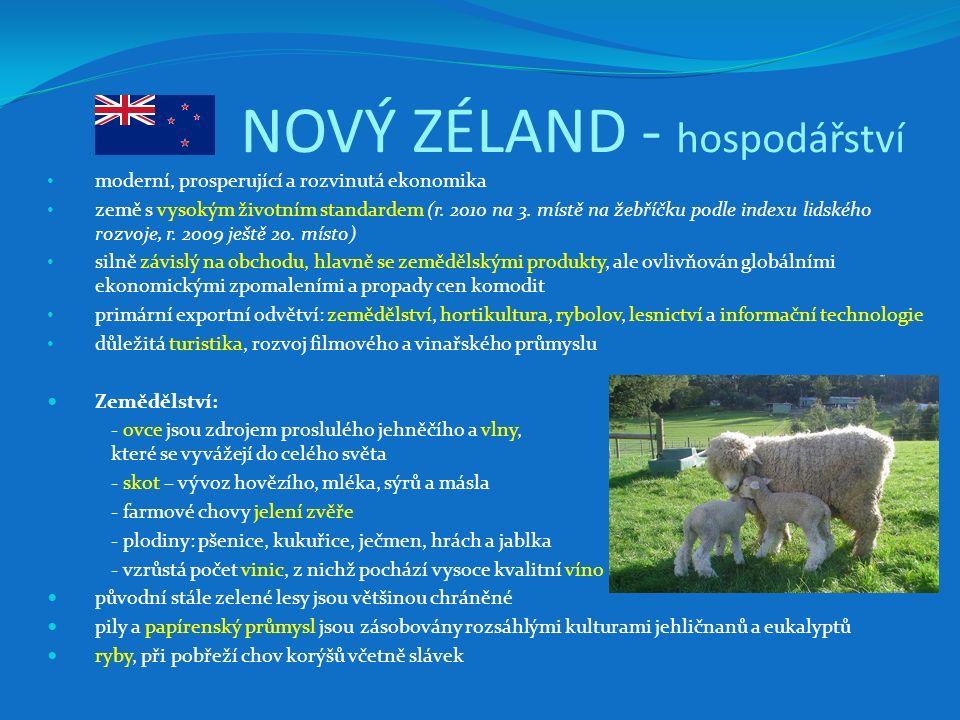 NOVÝ ZÉLAND - hospodářství moderní, prosperující a rozvinutá ekonomika země s vysokým životním standardem (r. 2010 na 3. místě na žebříčku podle index