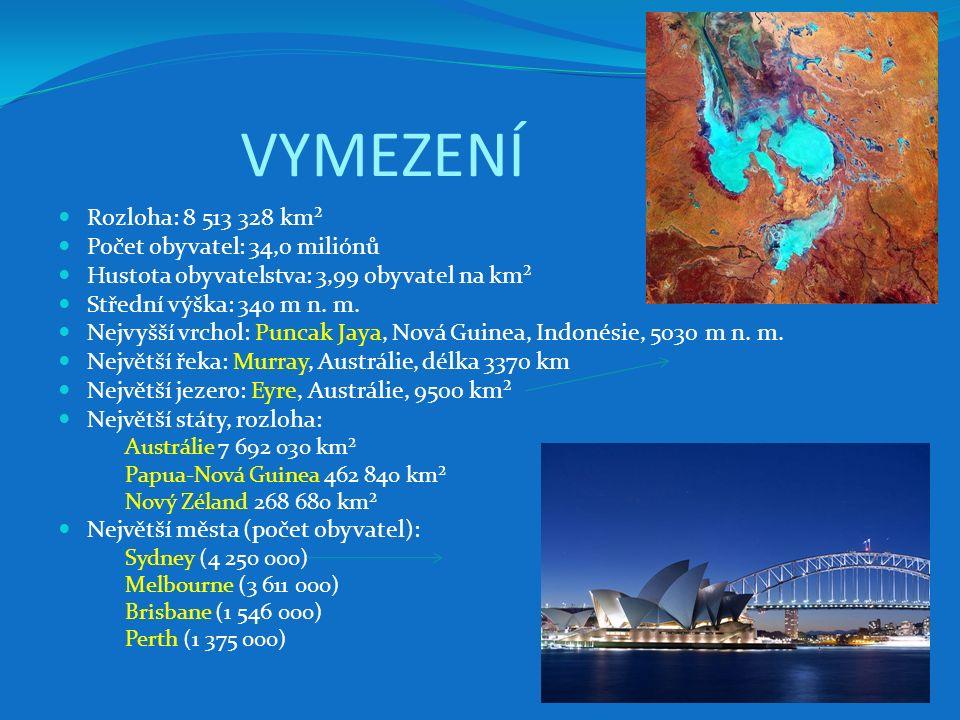 Papua-Nová Guinea (nezávislý stát) přímořský stát v Oceánii sousedí s Indonésií (pozemní hranice) 80 % procent rozlohy země na ostrově Nová Guinea, 20 % zaujímá asi 600 dalších ostrovů (Bismarckovo souostroví, D'Entrecasteauxovy ostrovy, Louisiady, Bougainville) teplé rovníkové podnebí, část země tropické monzunové podnebí rozvojový zemědělský stát s významnou těžbou nerostných surovin (ropa, zemní plyn, zlato, stříbro, platina, nejdůležitější ložiska mědi a zlata) nejdůležitější součástí průmyslu je hutnictví a zpracování barevných kovů, potravinářský průmysl (výroba cukru, palmový olej, kopra).