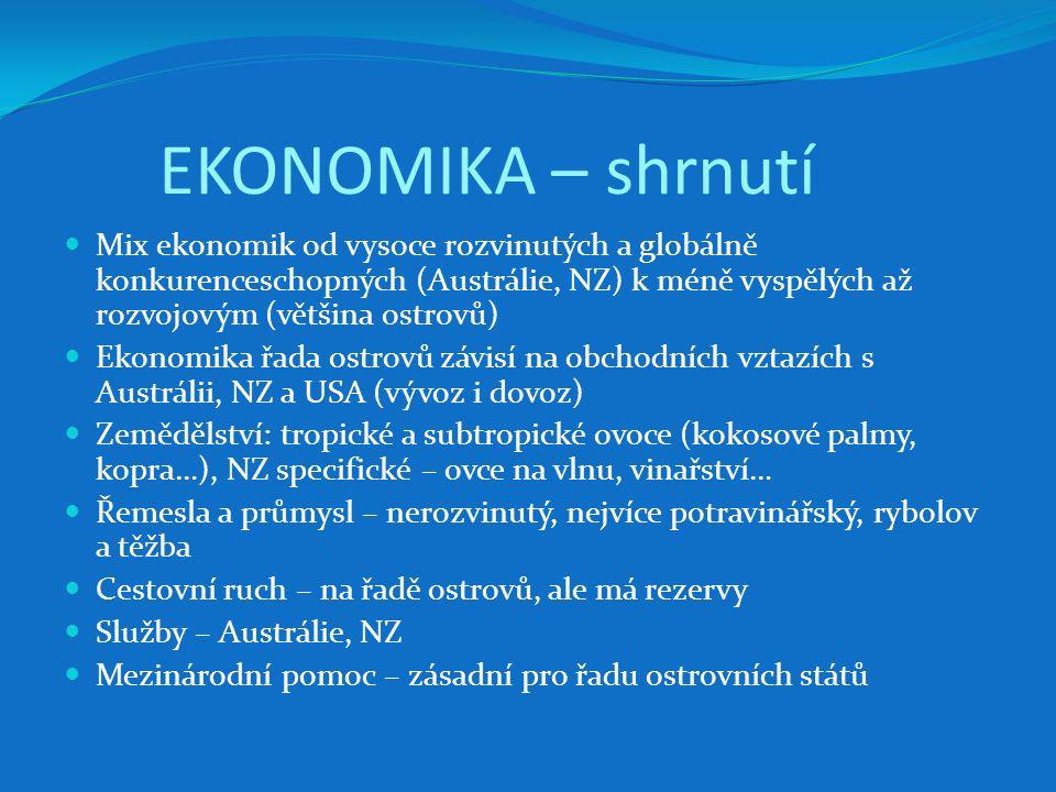 EKONOMIKA – shrnutí Mix ekonomik od vysoce rozvinutých a globálně konkurenceschopných (Austrálie, NZ) k méně vyspělých až rozvojovým (většina ostrovů)