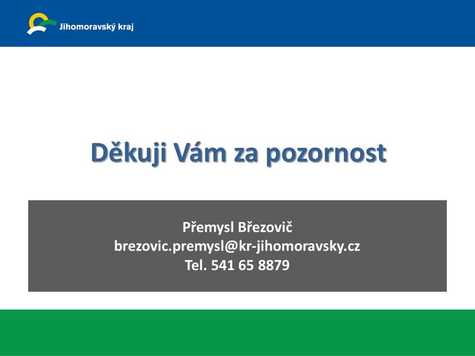 Děkuji Vám za pozornost Přemysl Březovič brezovic.premysl@kr-jihomoravsky.cz Tel. 541 65 8879