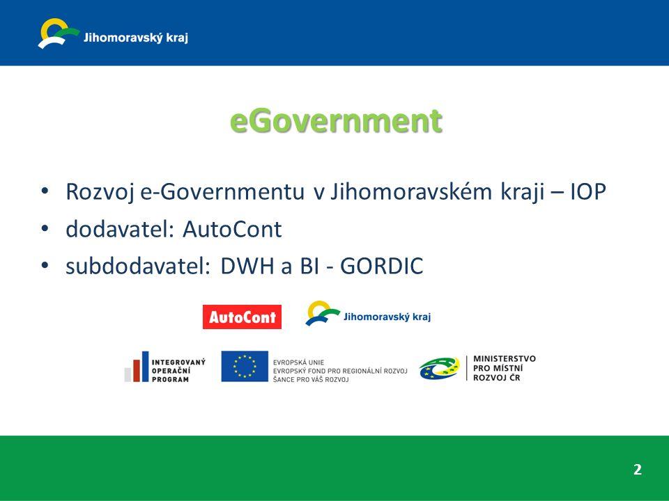 eGovernment Rozvoj e-Governmentu v Jihomoravském kraji – IOP dodavatel: AutoCont subdodavatel: DWH a BI - GORDIC 2