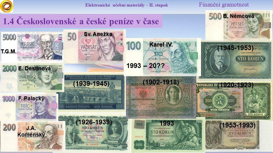 Elektronické učební materiály - II. stupeň Finanční gramotnost (1920-1923) (1926-1939) (1939-1945) (1945-1953) (1953-1993) 1993 (1902-1918) 1993 – 20?