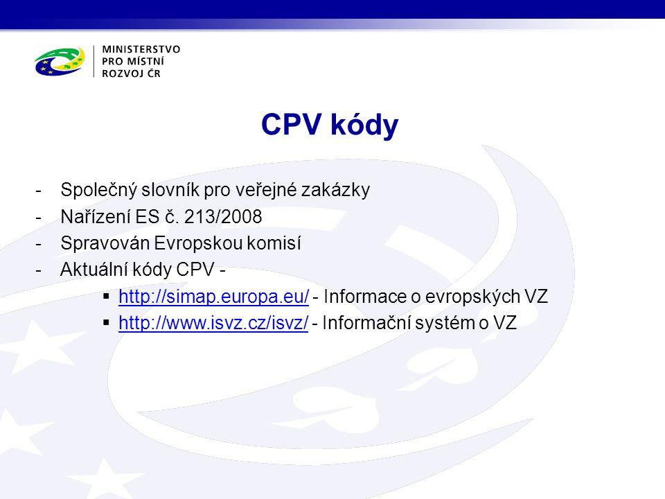 -Společný slovník pro veřejné zakázky -Nařízení ES č.