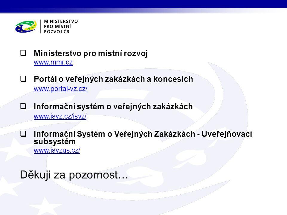 Děkuji za pozornost…  Ministerstvo pro místní rozvoj www.mmr.cz  Portál o veřejných zakázkách a koncesích www.portal-vz.cz/  Informační systém o veřejných zakázkách www.isvz.cz/isvz/  Informační Systém o Veřejných Zakázkách - Uveřejňovací subsystém www.isvzus.cz/