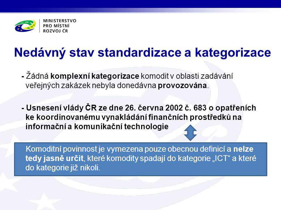 - Žádná komplexní kategorizace komodit v oblasti zadávání veřejných zakázek nebyla donedávna provozována.
