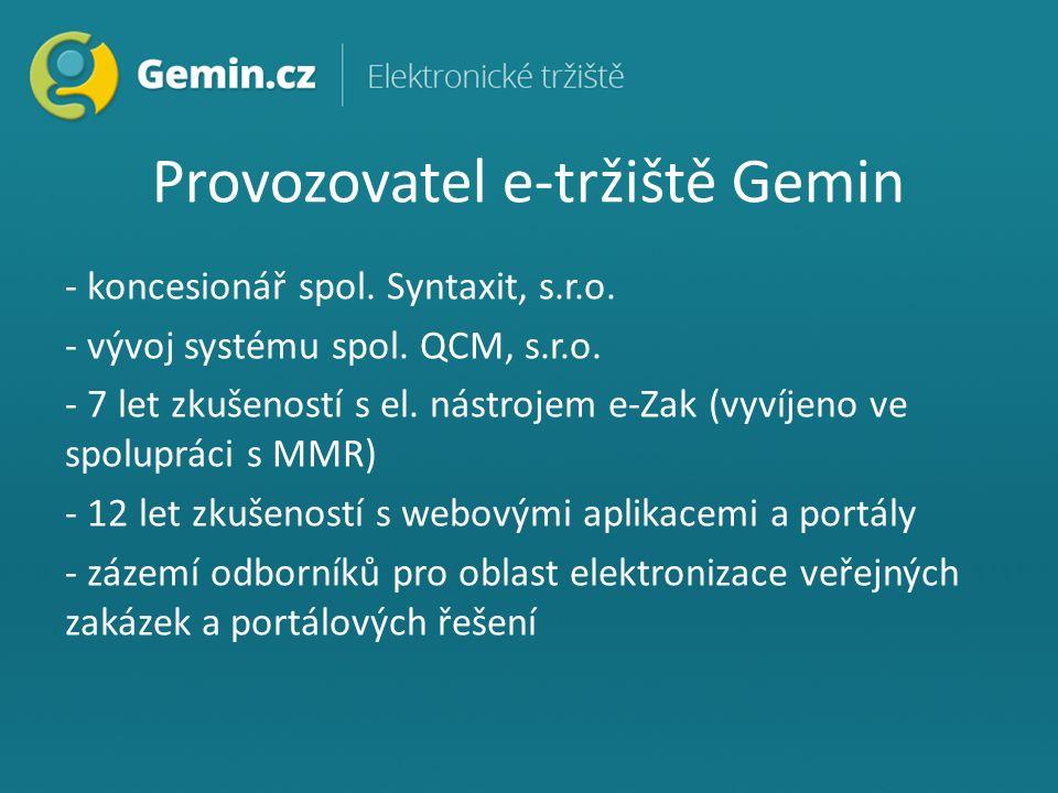 Provozovatel e-tržiště Gemin - koncesionář spol. Syntaxit, s.r.o.