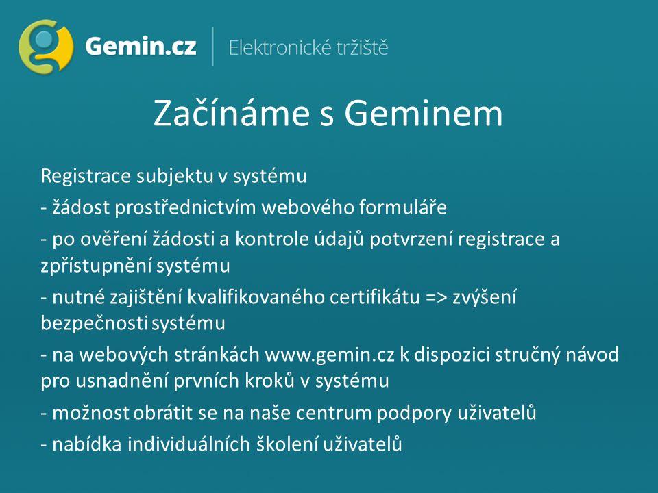 Začínáme s Geminem Registrace subjektu v systému - žádost prostřednictvím webového formuláře - po ověření žádosti a kontrole údajů potvrzení registrace a zpřístupnění systému - nutné zajištění kvalifikovaného certifikátu => zvýšení bezpečnosti systému - na webových stránkách www.gemin.cz k dispozici stručný návod pro usnadnění prvních kroků v systému - možnost obrátit se na naše centrum podpory uživatelů - nabídka individuálních školení uživatelů