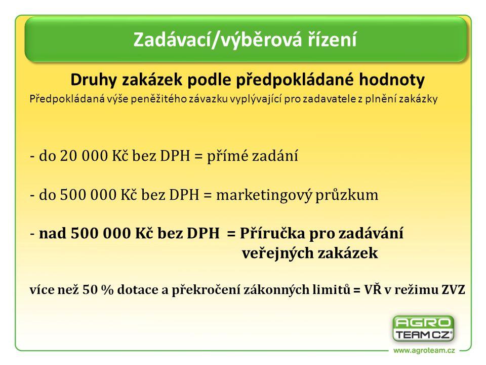 - cenový marketing od minimálně 3 dodavatelů - přehledná tabulka cen a dodavatelů podložené písemnou nebo mailovou nabídkou (nebo údaje z internetové nabídky) - transparentně a nediskriminačně Zadávací/výběrová řízení Zakázky do 500 000 Kč bez DPH