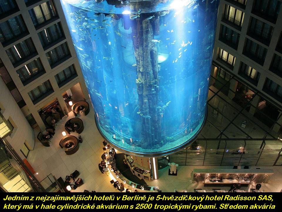 Jedním z nejzajímav ě jších hotel ů v Berlin ě je 5-hv ě zdi č kový hotel Radisson SAS, který má v hale cylindrické akvárium s 2500 tropickými rybami.