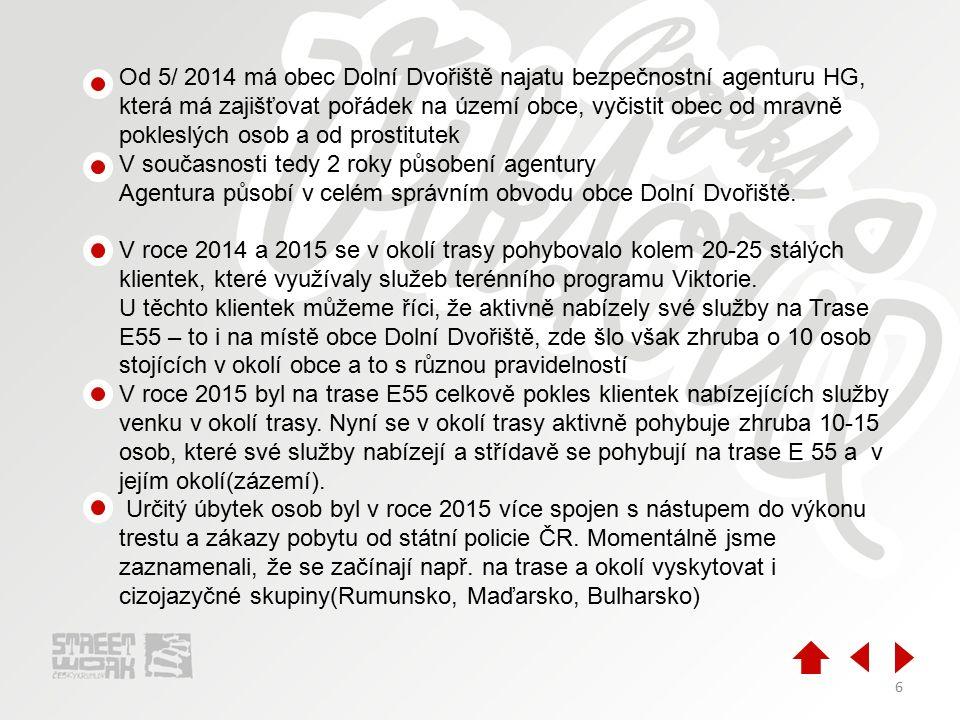 6 Od 5/ 2014 má obec Dolní Dvořiště najatu bezpečnostní agenturu HG, která má zajišťovat pořádek na území obce, vyčistit obec od mravně pokleslých osob a od prostitutek V současnosti tedy 2 roky působení agentury Agentura působí v celém správním obvodu obce Dolní Dvořiště.