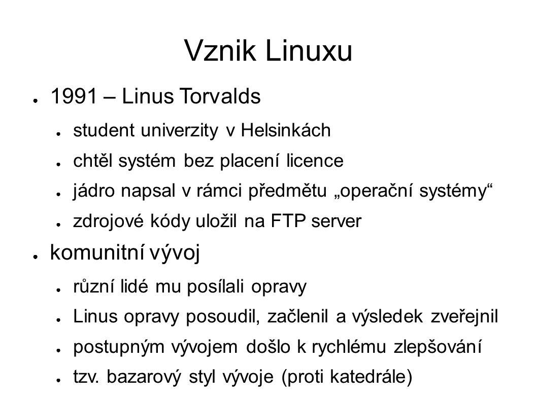 """Vznik Linuxu ● 1991 – Linus Torvalds ● student univerzity v Helsinkách ● chtěl systém bez placení licence ● jádro napsal v rámci předmětu """"operační sy"""