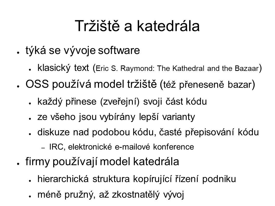 Tržiště a katedrála ● týká se vývoje software ● klasický text ( Eric S. Raymond: The Kathedral and the Bazaar ) ● OSS používá model tržiště ( též přen